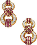 Estate Jewelry:Earrings, Diamond, Ruby, Gold Earrings . ...