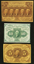 Fractional Currency:First Issue, Fr. 1230 5¢ First Issue Extremely Fine.. Fr. 1242 10¢ First Issue Choice About Uncirculated.. Fr. 1281 25¢ First Issue... (Total: 3 notes)