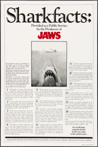 "Jaws (Universal, 1975). One Sheet (27"" X 41"") Shark Facts Style. Horror"