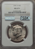 Kennedy Half Dollars, 1987-D 50C MS67+ NGC. NGC Census: (129/1 and 1/0+). PCGSPopulation: (149/6 and 1/0+). ...