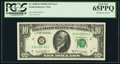 Error Notes:Ink Smears, Ink Smears on Face. Fr. 2020-B $10 1969B Federal Reserve Note. PCGSGem New 65PPQ.. ...