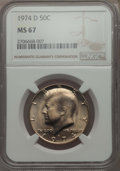 Kennedy Half Dollars, 1974-D 50C MS67 NGC. NGC Census: (11/0). PCGS Population: (27/0).Mintage 79,066,304. ...