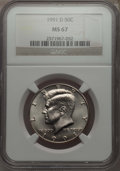 Kennedy Half Dollars, 1991-D 50C MS67 NGC. NGC Census: (56/1). PCGS Population: (26/2)....
