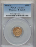 Gold Dollars, 1856-S G$1 Type Two -- Cleaning -- PCGS Genuine. F Details. NGC Census: (0/211). PCGS Population: (0/188). CDN: $360 Whsle....