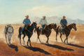 Paintings, Ruth Goldsborough (American, 1918-2013). Over-the-Hill Gang from Cochise County, 1980. Oil on canvas. 24 x 36 inches (61...