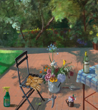 Paul Wonner (1920-2008) Terrace with Spray Bottle and Garden Gloves (2nd Version), 1996 Acrylic on c