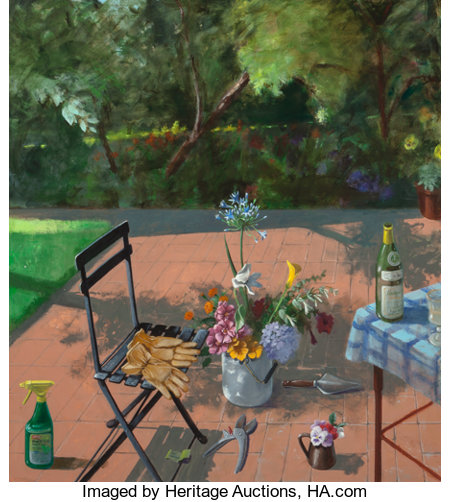 Paul Wonner (1920-2008)Terrace with Spray Bottle and Garden Gloves (2nd Version), 1996Acrylic on canvas60 x 54 inc...