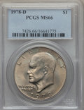 Eisenhower Dollars, 1978-D $1 MS66 PCGS. PCGS Population: (632/3). NGC Census: (587/4). CDN: $100 Whsle. Bid for problem-free NGC/PCGS MS66. Mi...