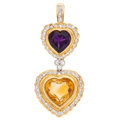 Estate Jewelry:Pendants and Lockets, Citrine, Amethyst, Diamond, Gold Pendant. ...