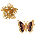 Estate Jewelry:Brooches - Pins, Diamond, Enamel, Gold Brooches. ... (Total: 2 Items)