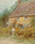 Fine Art - Work on Paper:Watercolor, Helen Paterson Allingham (British, 1848-1926). A Dorset Cottage,Symondbury. Watercolor and goauche on paper. 12-1/4 x 9...