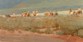 Fine Art - Painting, American, Walter Gonske (American, b. 1942). Rabbit Hunt, Taos. Oil oncanvas. 16 x 30 inches (40.6 x 76.2 cm). Signed and inscrib...