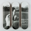 Fine Art - Work on Paper:Print, Ai Weiwei (b. 1957). The White House, from Fuck Offseries, triptych, 2017. Screenprints on skate decks. 31 x 8... (Total: 3 Items)