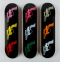 Fine Art - Work on Paper:Print, After Andy Warhol X The Skateroom. Guns, triptych, 2015.Screenprints on skate decks. 31 x 8 inches (78.7 x 20.3 cm) (ea...(Total: 3 Items)