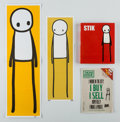 Works on Paper, Stik (20th century). Stik (four works), 2015. Hardcover book, offset lithograph magazine, and two screenprints in colors... (Total: 4 Items)