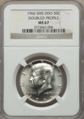 Kennedy Half Dollars, 1966 50C SMS, Doubled Die Obverse, Doubled Profile, MS67 NGC. NGCCensus: (2/1). PCGS Population: (13/1). Mintage 108,984,...