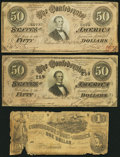 Confederate Notes:Group Lots, T44 $1 1862 PF-1 Cr. 339;. T66 $50 1864 PF-3, -5; Cr. 497, 498..... (Total: 3 notes)
