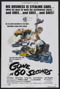 "Movie Posters:Action, Gone in 60 Seconds (New City Releasing, 1974). One Sheet (27"" X41""). Action. Starring George Cole, Jerry Daugirda, Marion B..."