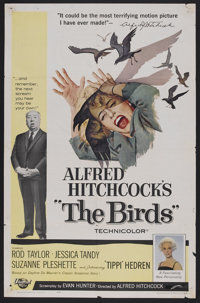 "The Birds (Universal, 1963). One Sheet (27"" X 41""). With no explanation, birds begin attacking the residents o..."