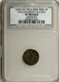Colonials: , 1652 3PENCE Pine Tree Threepence--Damaged--NCS. VF Details. Noe-36, Crosby 2a-B, R.4. 14.6 grains. The tree is bold, and mo...