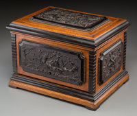 A French Renaissance Revival Oak Cigar Humidor Reportedly Owned by Emperor Maximilian I of Mexico, circa 1860 Mark
