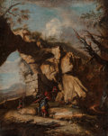 Fine Art - Painting, European:Antique  (Pre 1900), Italian School (18th Century). Soldiers at Rest in a RockyLandscape; A Rugged Landscape with Soldiers (A pair). Oil on... (Total: 2 Items)