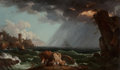 Fine Art - Painting, European:Antique  (Pre 1900), School of Claude Joseph Vernet (French). A Shipwreck in aViolent Storm . Oil on canvas. 17 x 28-1/2 inches (43.2 x72.4...
