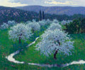 Fine Art - Painting, American:Contemporary   (1950 to present)  , Malcolm Hughes (American, b. 1957). Orchard on an AprilMorning. Oil on canvas. 30 x 36 inches (76.2 x 91.4 cm). Signed...