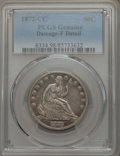 Seated Half Dollars, 1872-CC 50C -- Damage -- PCGS Genuine. Fine Details. NGC Census: (3/69). PCGS Population: (7/170). CDN: $600 Whsle. Bid for...