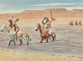 Fine Art - Work on Paper:Watercolor, Leonard Howard Reedy (American, 1899-1956). The DefiantSioux. Watercolor on paper. 7-1/2 x 10-1/4 inches (19.1 x 26.0c...