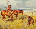 Fine Art - Painting, American, G. Yurik (American, 20th Century). Following the Trail. Oilon canvas. 24 x 30 inches (61.0 x 76.2 cm). Signed lower rig...