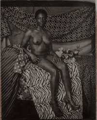 Mickalene Thomas (b. 1971) Portrait of Marie Sitting in Black and White, 2011 Photogravure with chin