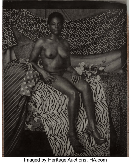 Mickalene Thomas (b. 1971) Portrait of Marie Sitting in Black and White, 2011 Photogravure with chine-collé on wove pa...