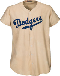 "1947 Jackie Robinson Game Worn Brooklyn Dodgers Rookie ""Color Barrier"" Jersey, MEARS A9--Photo Matched with Fa..."
