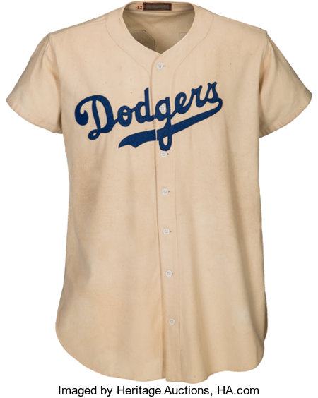 "1947 Jackie Robinson Game Worn Brooklyn Dodgers Rookie ""Color Barrier"" Jersey, MEARS A9--Photo Matched with Family Provenance!..."