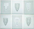 Fine Art - Sculpture, American:Contemporary (1950 to present), Willie Cole (b. 1955). Untitled, 1994. Etched glass sixpanels. 13-5/8 x 10-5/8 inches (34.6 x 27.0 cm) (each). ...