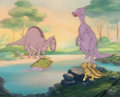 Animation Art:Production Cel, The Land Before Time Spike, Ducky and Family Production CelSetup with Key Master Background (Amblin/Sullivan Bluth, 1...