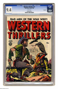 Western Thrillers #1 Vancouver pedigree (Fox Features Syndicate, 1948) CGC NM 9.4 White pages. All-women outlaws issue...