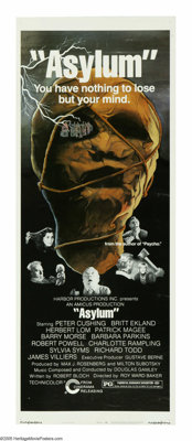 """Asylum (Cinerama Releasing, 1972). Insert (14"""" X 36""""). """"Never turn your back on a patient."""" Four inm..."""