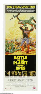 "Battle for the Planet of the Apes (20th Century Fox, 1972). Insert (14"" X 36""). Caesar the ape (Roddy McDowall..."