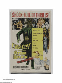 "Creature with the Atom Brain (Columbia, 1955). One Sheet (27"" X 41""). ""It would answer the riddle, wouldn..."