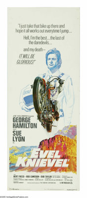 """Evel Knievel (Fanfare Corp, 1971). Insert (14"""" X 36""""). """"We have very little choice about our life. The on..."""