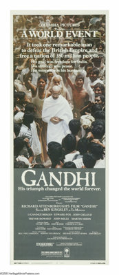 "Gandhi (Columbia, 1982). Insert (14"" X 36""). Richard Attenborough comes just short of documenting the entire l..."