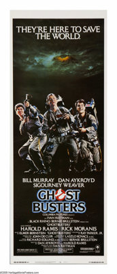 """Ghostbusters (Columbia, 1984). Insert (14"""" X 36""""). """"Who ya gonna call?""""...Oh, you know who! One of t..."""
