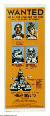 "Heartbeeps (Universal, 1981). Insert (14"" X 36""). Andy Kaufman and Bernadette Peters star as domestic robots w..."