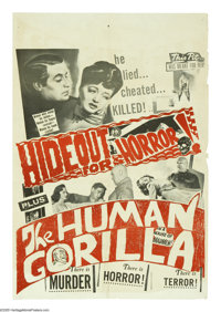 """Hideout for Horror/The Human Gorilla Combo (Eagle Lion, R-1950s). One Sheet (27"""" X 41""""). A horror double featu..."""