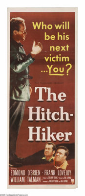 "The Hitch-Hiker (RKO, 1953). Insert (14"" X 36""). A really hard-edged film noir directed by actress Ida Lupino..."