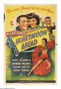 """Movie Posters:Comedy, Honeymoon Ahead (Universal, 1945). One Sheet (27"""" X 41""""). A paroledsinger is the object of a conspiracy to get him thrown b..."""