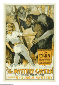 "Jungle Mystery (Universal, 1932). One Sheet (27"" X 41""). ""Chapter 5: The Mystery Cavern."" Tom Tyler..."