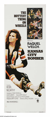 "Kansas City Bomber (MGM, 1972). Insert (14"" X 36""). K.C. Carr (Raquel Welch) is divorced and trying to raise t..."